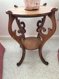 Antique oak plant stand