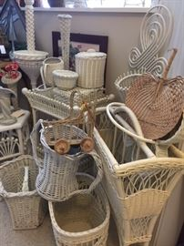 Antique and vintage white wicker galore!