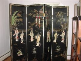 Early 20th century Japanese privacy screens, jade inlay