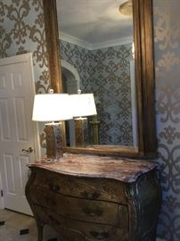 Magnificent antique marble top chest with large god mirror