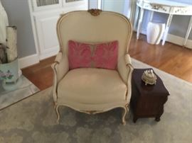 Classic French  Berchere  chair with miniature chest.