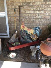 Little red wagon, rooster, hen, asst. yard art