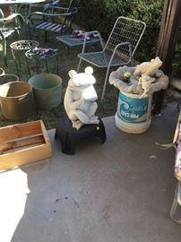 Frog infested yard art, bird bath top