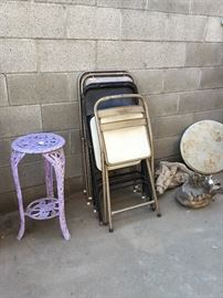 folding chairs, plant stand