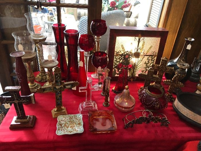 Beautiful crosses and dishware and candles