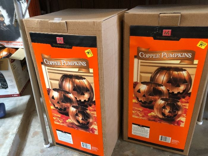 2 boxes new copper pumpkins (3) in each box