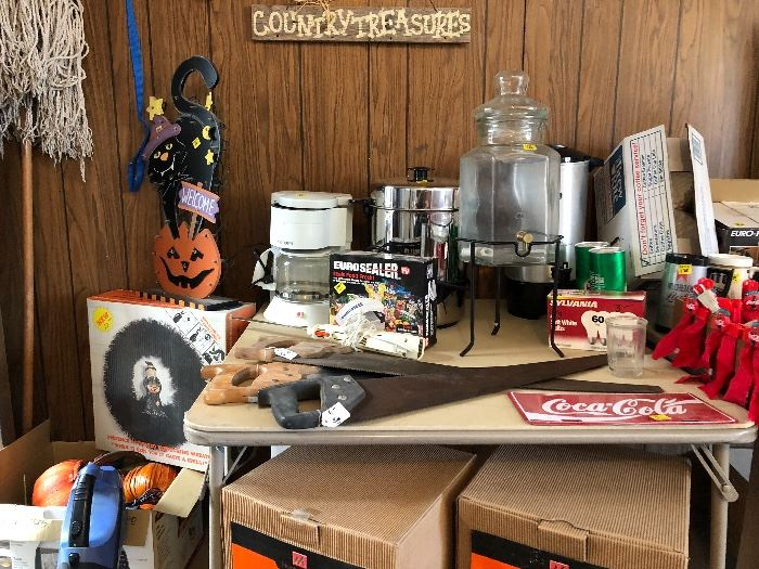Halloween items, Coke collectibles, new coffee urns