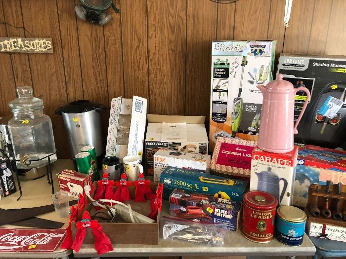 Coke collectibles, Vintage 1950s tobacco cans, new carafe, new Shark vacuum, pipe collection