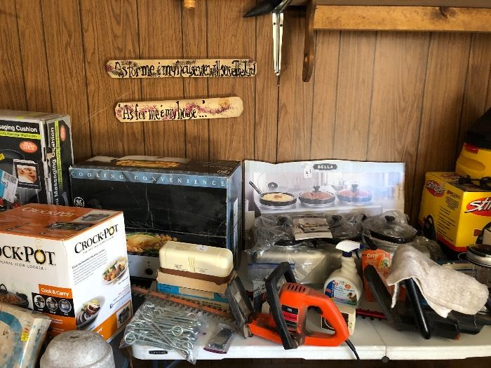 Misc eyebolts new, hedge trimmers, scales,