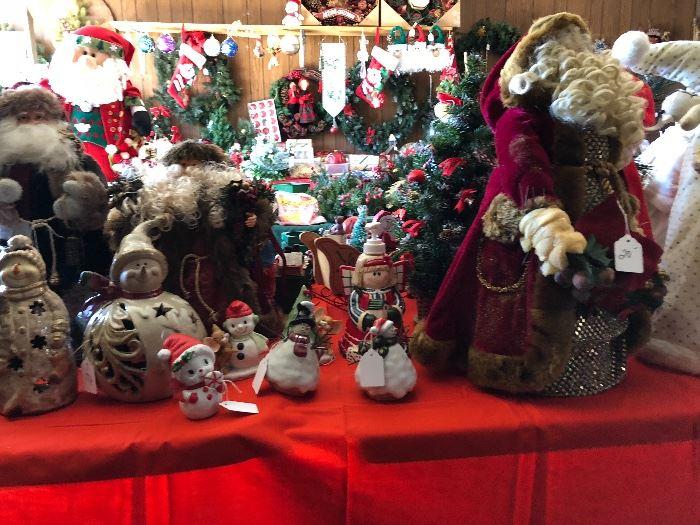 Santas, snowmen, Christmas items