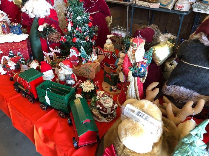 Lots of Christmas trains, elves, Santas