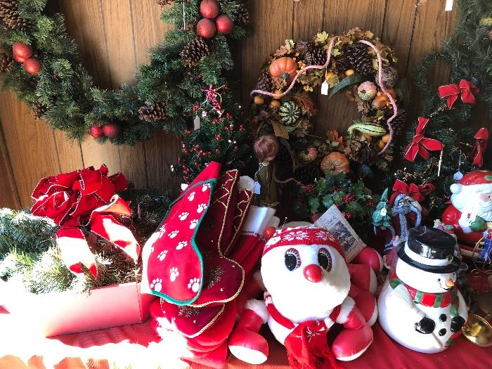 Christmas stockings and wreaths