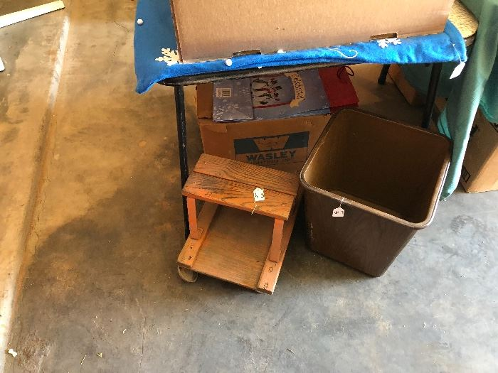wooden rolling work dolly, metal trash cans