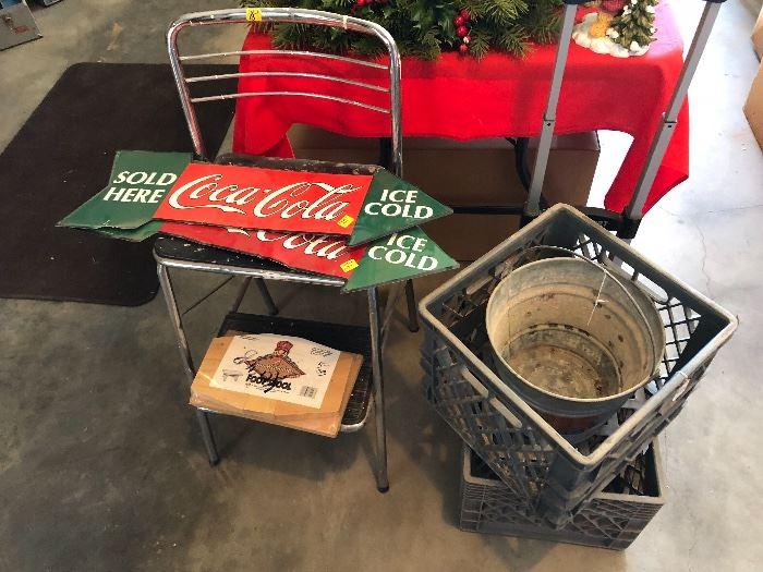 Coke signs, storage boxes, pail