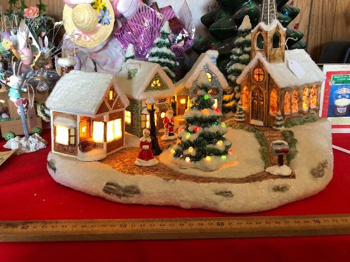 Christmas village lit up!