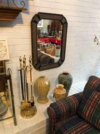 Mirror, vases,  fireplace set
