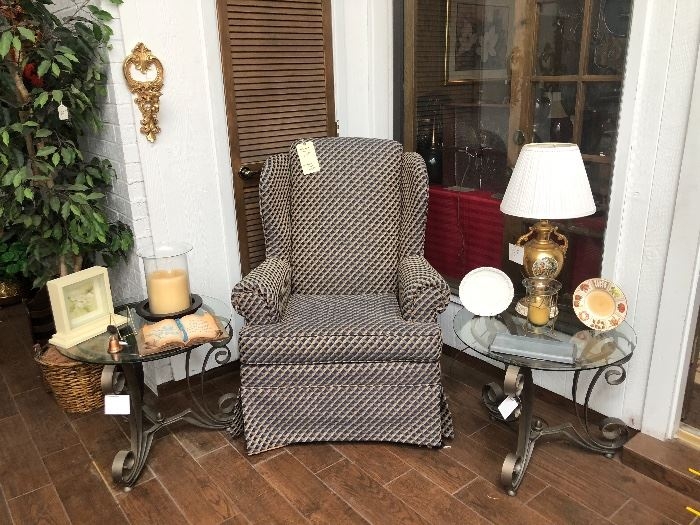 Wingback chair and two glass endtables with wrought iron design