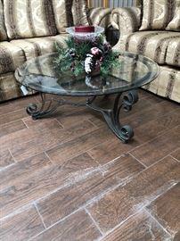 beautiful matching glass coffee table