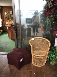 wicker chair and star-shaped foot stool