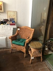 wicker chair and table with glass top