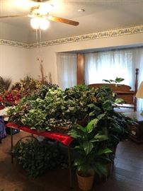 Room full of artificial flower and plants