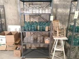 Ball Jars and Metal Shelf