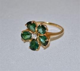 Green Gemstone Gold Ring
