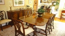 Baker Dining Room Set, 3 leaves, 8 chairs . Matching Buffet and china cabinet