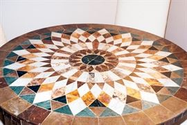 """Arhaus marble table top (Detail) with cast iron legs - 48"""" Diameter."""