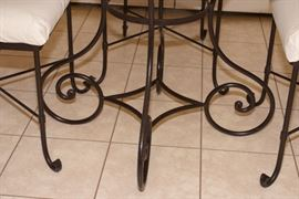 """Arhaus glass table with cast iron legs (Detail) - 29"""" Height."""