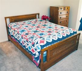 """Carved bed set (over 50+ years old), with full sized mattress and box spring (6 months old). Bed - 80"""" Length x 57"""" Width x 35.5"""" Height / Dresser 46.5"""" Height x 35"""" Length x 20"""" Depth."""