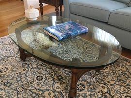 Drexel glass top coffee table