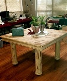 "SHOW STOPPING Reclaimed Wood Farm table with Iron Casters on the Legs Approx. 45"" x 45"" and 30"" tall"