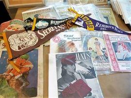 Pennants, Vintage Sheet Music, Early Fashion Magazines