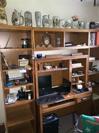 LARGE WOODEN WALL UNIT DESK / COLLECTION OF BEER STEINS / OFFICE SUPPLIES