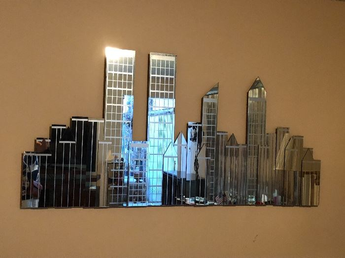 Mirrored NYC skyline with twin towers 6'long, 3' tall