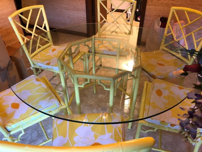 """60"""" round glass top table, metal base with 6 metal chairs"""