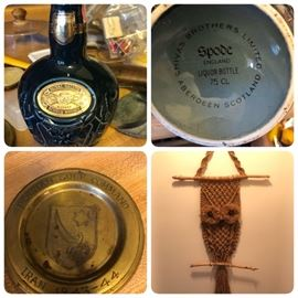 Spode liqueur bottle, brass ashtray from Persian Gulf Committee 1943-1944, owl macrame wall hanging