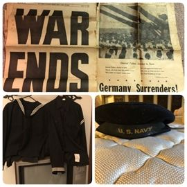 WWII Great Lakes Naval Training Base newspapers.  WWII Navy uniforms & cap.