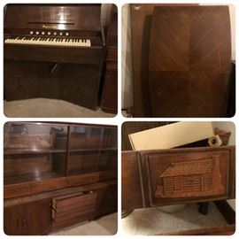 Vintage Imperial Organ,  Table tops, MCM Credenza & Hutch, Log Cabin relief footboard.