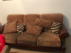 Leather and Fabric Couch and Chair