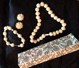 Angel Skin Coral necklace, bracelet & earrings