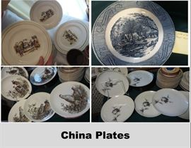 Dishes and Dish sets Johnson Brothers: Game Birds, Norleans: Midnight Rose,  Franciscan Coranado, Currier and Ives, Myott Old Chelsea Bluebell, Flintridge, Hearthstones Block: Vista Alegre, Syracuse: Meadow Breeze, Quon-Quon: Sunset, Royal Staffordshire: Tonquin, Wedgewood: Charmwood, Homer Laughlin Georgian,