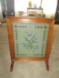 Mission style Needlepoint Fireplace Screen, firm $98...only item with a firm price.