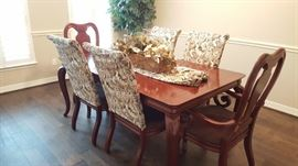 Solid cherry dining table & 6 chairs