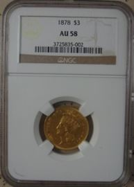 NGC Graded AU 58 Gold 1878 $3.00 Coin