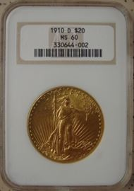 NGC Graded MS 60 Gold 1910-D $20.00 Coin