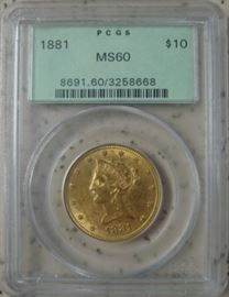 PCGS Graded MS60 Gold 1881 $10.00 Coin