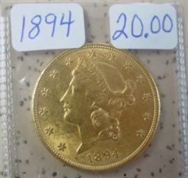 1894 Gold $20.00 Coin