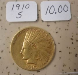 1910-S Gold $10.00 Indian Head Coin